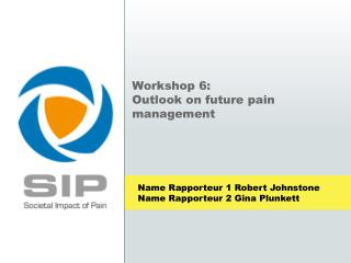 Workshop 6:  Outlook on future pain management