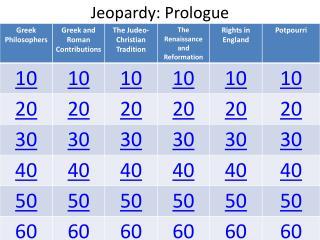 Jeopardy:  Prologue