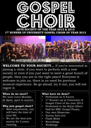 ARTS SOCIETY OF THE YEAR 2012 & 2013 1 ST  RUNNER UP UNIVERSITY GOSPEL CHOIR OF YEAR 2013