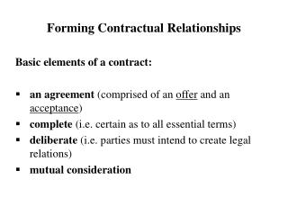Forming Contractual  Relationships