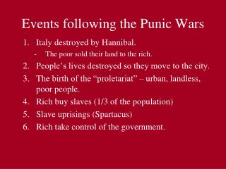 Events following the Punic Wars