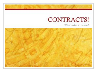 CONTRACTS!
