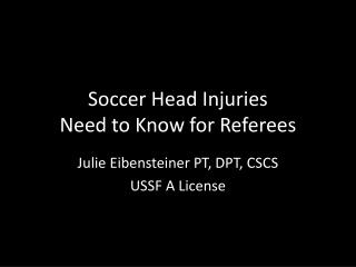 Soccer Head Injuries Need to Know for Referees