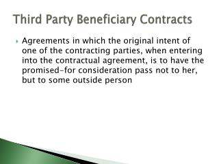 Third Party Beneficiary Contracts