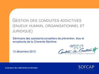 Gestion des conduites addictives (enjeux  humain, organisationnel  et  juridique)