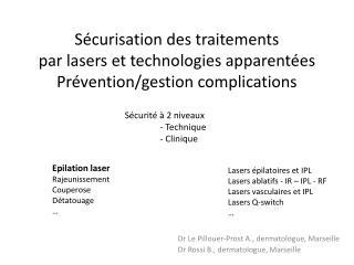 Dr Le  Pillouer -Prost A., dermatologue, Marseille Dr Rossi B., dermatologue, Marseille