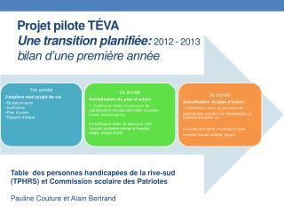 Projet  pilote  TÉVA Une transition planifiée:  2012  - 2013 b ilan d'une première année
