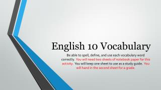 English 10 Vocabulary
