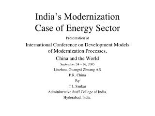 India's Modernization Case of Energy Sector