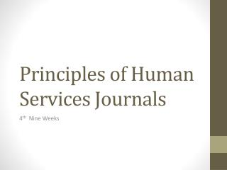 Principles of Human Services Journals