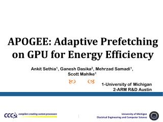 APOGEE: Adaptive Prefetching on GPU for Energy Efficiency