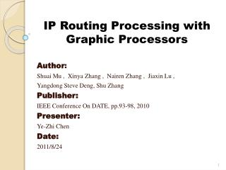 IP Routing Processing with Graphic Processors