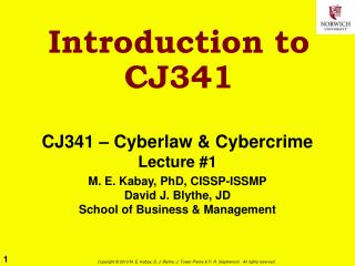 Introduction to CJ341