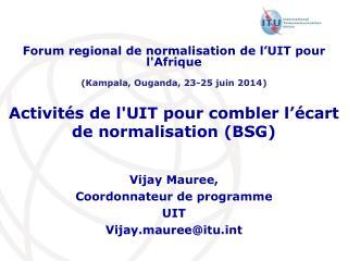 Activités  de  l'UIT  pour  combler l'écart de  normalisation  (BSG)