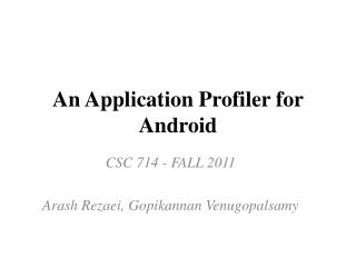 An Application Profiler for Android