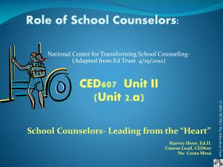 Role of School Counselors: