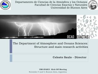 The Department of Atmosphere and Oceans Sciences:  Structure and main research activities