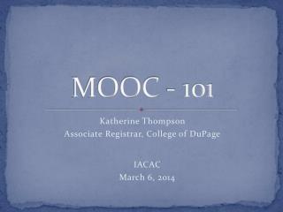 MOOC - 101