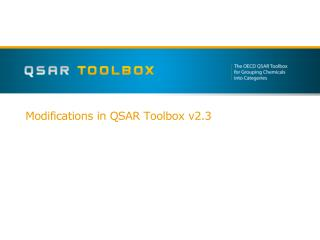 Modifications in  QSAR Toolbox  v2.3