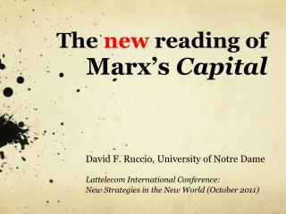 The  new  reading of  Marx's  Capital