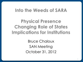 Into the Weeds of SARA Physical Presence Changing Role of States Implications for Institutions