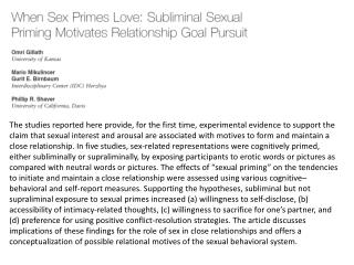 S2 :  Ps primed subliminally and  supraliminally  with image of a naked person