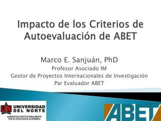 Impacto de los Criterios de Autoevaluación de ABET