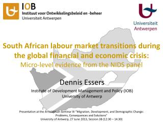 Dennis Essers Institute of Development Management and Policy (IOB) University of Antwerp