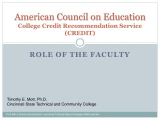American Council on Education College Credit Recommendation Service ( CREDIT)