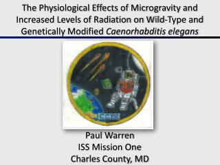 Paul Warren ISS Mission One Charles County, MD