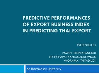 Predictive Performances of Export Business Index in Predicting Thai Export