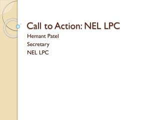 Call to Action: NEL LPC