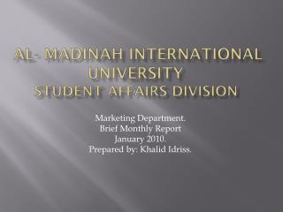 Al-  madinah  International University  student affairs division