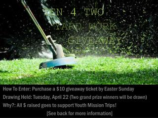 How To Enter: Purchase a $10 giveaway ticket by Easter Sunday