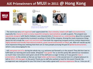 AJE Prizewinners of  MUJI  in 2011  @ Hong Kong