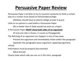 Persuasive Paper Review