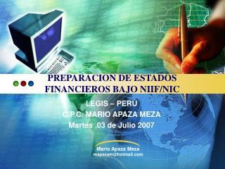 PREPARACION DE ESTADOS  FINANCIEROS BAJO NIIF