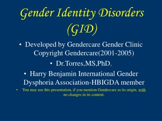 Gender Identity Disorders GID