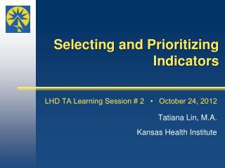 Selecting and Prioritizing Indicators