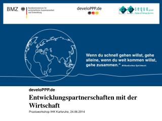 develoPPP.de Entwicklungspartnerschaften  mit der Wirtschaft