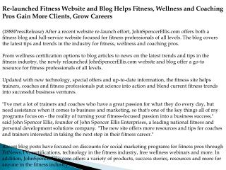 Re-launched Fitness Website and Blog Helps Fitness, Wellness