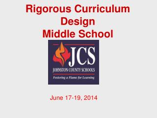 Rigorous  Curriculum Design Middle School