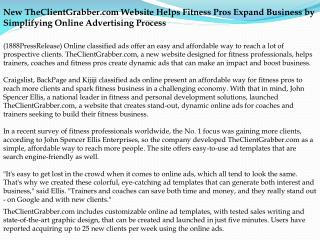New TheClientGrabber.com Website Helps Fitness Pros Expand B