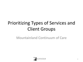 Prioritizing Types of Services and Client Groups