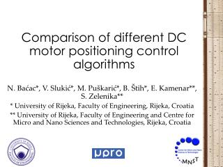 Comparison of different DC motor positioning control algorithms
