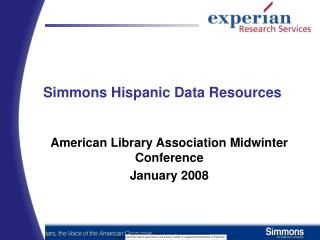 Simmons Hispanic Data Resources