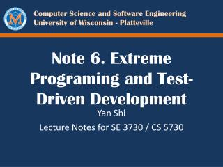 Note 6. Extreme Programing and Test-Driven Development