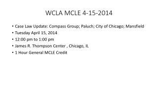 WCLA MCLE 4-15-2014