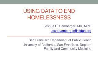 Using data to end homelessness
