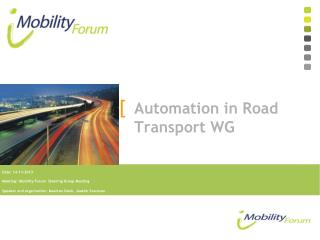 Automation in Road Transport WG